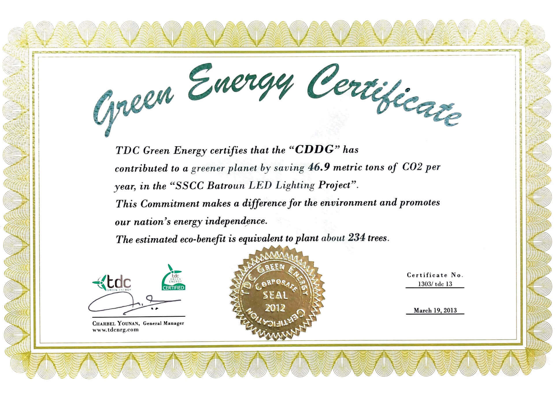 CDDG Green Energy Certificate